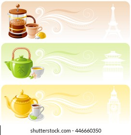 Banner set with flat icons for popular hot drinks. Coffee, French press, bun, Eiffel Tower. Green jasmine tea, oriental cup, chinese pagoda motive. Classic black tea in teapot, Big Ben building