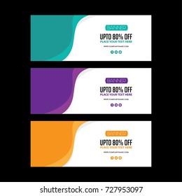Banner set. poster vector design. Facebook cover set. Green. Orange poster. purple sale banner