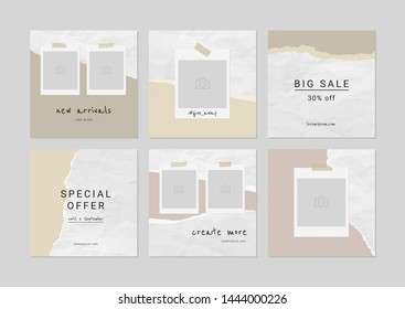 Banner set for promoting your business. 6 unique templates for for bloggers, designers, clothing stores. Social Media Pack. Vector.