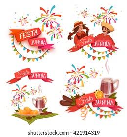 Banner set with ribbons for Festa Junina Brazil party. Vector illustration.