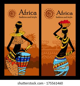 Banner set of travel. Tropical landscape. Beautiful black woman.African woman