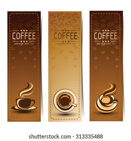 Banner set of vintage coffee backgrounds. Menu for restaurant, vector illustration