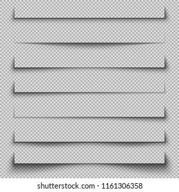 Banner Shadow Set on Checkered Background. Vector Template.