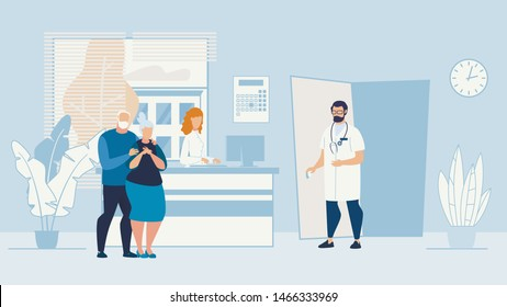 Banner Sick Elderly Couple Patients Husband and Wife, are in Doctors Office. Husband Gently Hugs his Beloved Wife. Physician is Specialist in Diseases Elderly in Ward and Invites them to Enter.