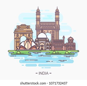 Banner or sign with indian landmarks. Agra taj mahal and Delhi Lotus temple, amer and Indian red fort, humayun's tomb, India gate or gateway. Tourism and travel, vacation card, monuments panorama
