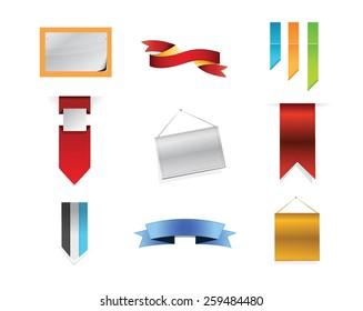 banner signs concept icon set illustration design over white
