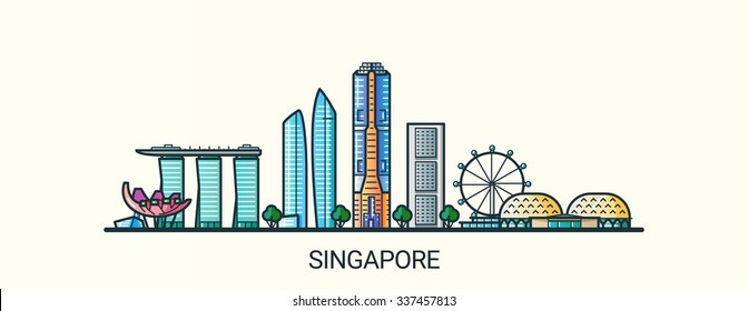 Banner of Singapore city in flat line trendy style. All buildings separated and customizible. Line art.