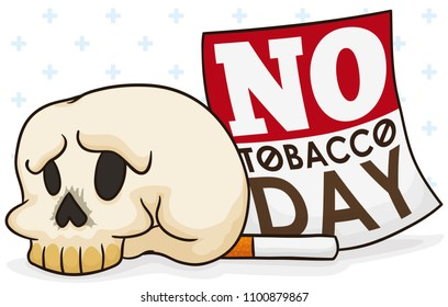 Banner with skull, cigarette and loose-leaf calendar over crossed background for No Tobacco Day commemoration.