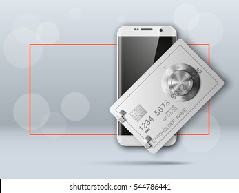 Banner with smartphone & credit card image. Advertising promo poster with phone & bank card icon. Communicator PDA with steel safe, door of a bank vault combination lock.. Vector illustration