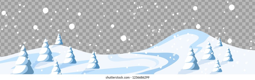 Banner with snow Christmas  ornaments isolated on transparent background. with hanging balls and christmas cap. Great for New year party footer, headers.