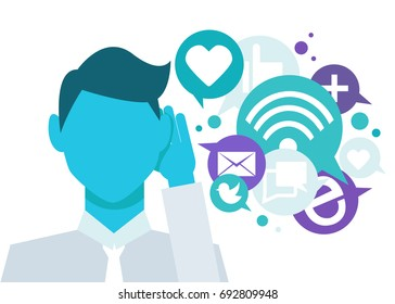 Banner Social listening. The man leaned his hand to his ear, and listens to icons. Vector lat illustration