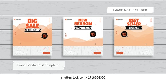 Banner or Social Media Post Design Template Themed Fashion in 1:1 Color ways included. Can be adapt to Brochure, Magazine, Poster, Corporate Presentation, Portfolio, Flyer, Website.