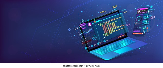 Banner Software UI and development for different devices. Dashboard app with graphics, testing platform, analysis data, coding and usability process. Software development and programming. Vector