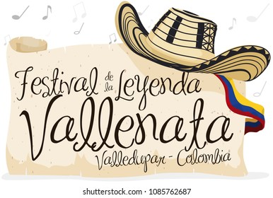 "Banner with ""sombrero vueltiao"" -or turned hat- with greeting sign in scroll and Colombia flag over a background with musical notes for Vallenato Legend Festival (written in Spanish)."