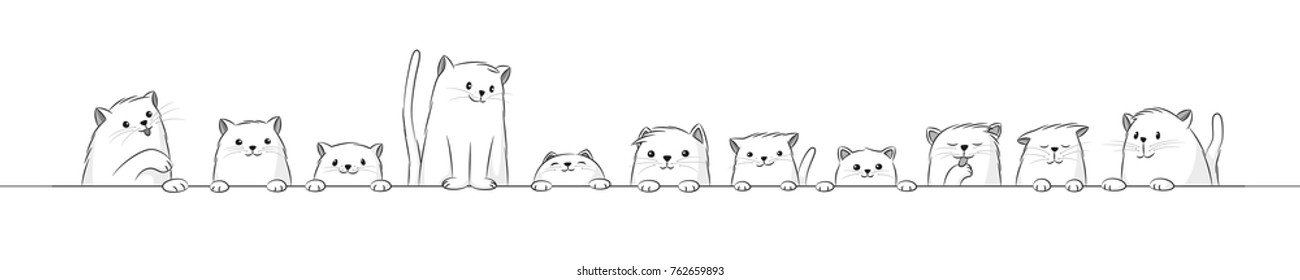 Banner with some cut cats, black and white