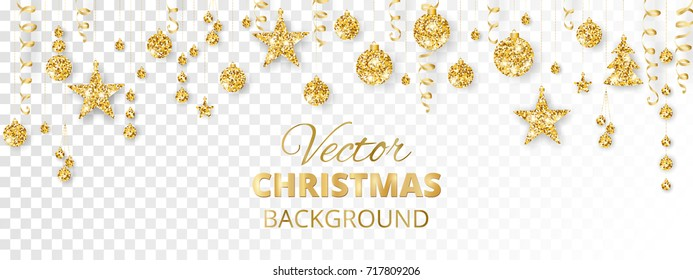 Banner with sparkling Christmas glitter ornaments isolated on transparent background. Golden fiesta border. Festive garland with hanging balls and ribbons. Great for New year party posters, headers.