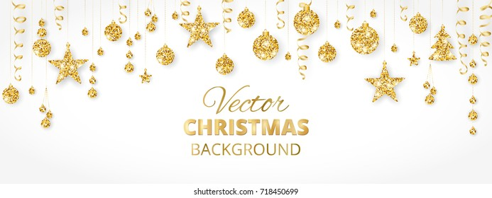 Banner with sparkling Christmas glitter ornaments isolated on white. Golden fiesta border. Festive garland with hanging balls and ribbons. Great for New year party posters, cards, website headers.