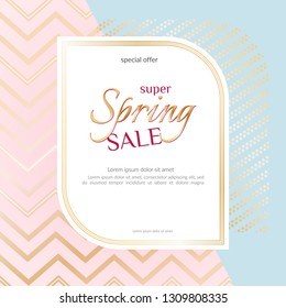 Banner Spring Sale Elegant golden specks zigzag pink background Luxury card banner for advertising sale promotions discounts Beautiful spring summer theme of fashion advertising sale discount Vector