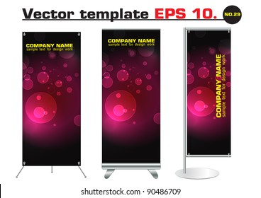 banner stand display with red bokeh abstract light identity background ready for use. Vector template for design work