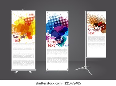 banner stand display with watercolor splatter identity template, Vector illustration
