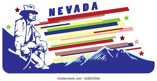 Banner for the state of Nevada with the figure of a miner.