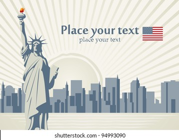 banner with statue of Liberty in background of New York