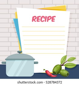 Banner, sticker, a note for the recipe. Cooking recipe. Cooking book. Tools for the design of brochures, flyers, web banners. Recipe box. Recipe cards