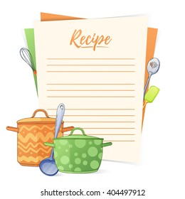 Banner, sticker, a note for the recipe. Making the recipe for cooking. Kitchen pots and kitchen tools for the design of brochures, flyers, web banners. Recipe box. Recipe cards. Recipe book. Vector.