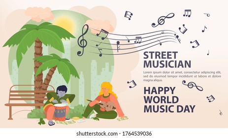 Banner, street, musician world music day Poster, People man and woman playing drums and guitar, under a palm tree, sheet music icons, flat vector illustration cartoon