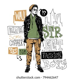 Banner with stylish boy in sketch style and text. Vector collection.