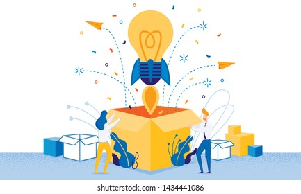 Banner Successful Launch New Idea Cartoon Flat. Incandescent in Form Rocket Takes off from Large Box. Man and Woman Rejoice at Launch New Successful Idea or Project. Vector Illustration.