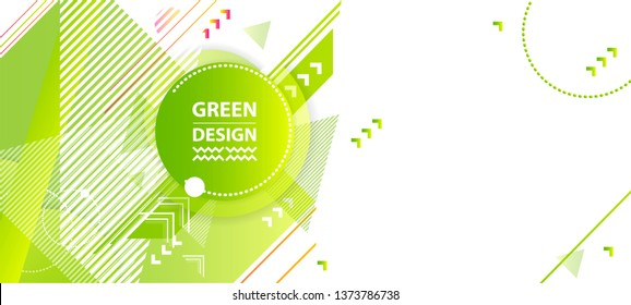 Banner summer ecology poster triangle vector futuristic light minimal geometric hipster white background. Green and yellow lines and points natural