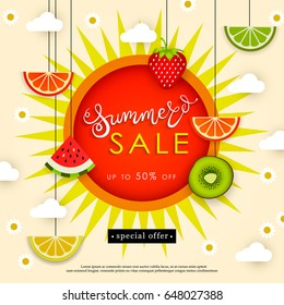 Banner Summer Sale. Tasty season. Lettering in the background of a pattern of stylized tropical fruits, berries, clouds, flowers and sun. Vector illustration