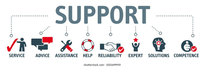 Banner support concept, service, advice, assistance and reliability vector illustration