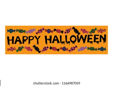Banner with sweets.Material collection for Halloween.Autumn material collection.Halloween banner.