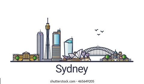 Banner of Sydney city skyline in flat line trendy style. Sydney city line art. All buildings separated and customizable.