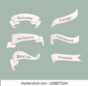 banner and tag ribbon label set.