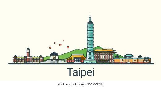 Banner der Stadt Taipeh in flachem, trendigem Stil. Alle Gebäude getrennt und individuell gestaltet. Line Art.