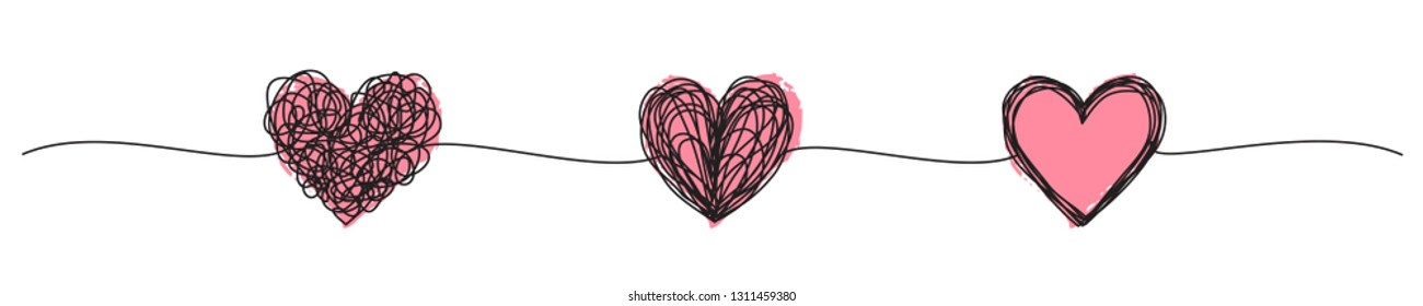 Banner with tangled grungy heart scribbles hand drawn with thin line and red ink hearts, divider shape. Isolated on white background. Vector illustration