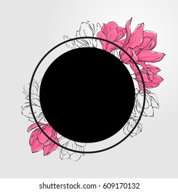 Banner template with black round and delicate sketch magnolia flowers.