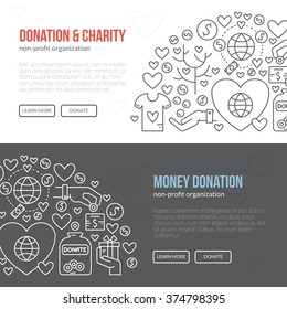 Banner template with charity and donation icons and symbols. Line style vector illustration. Charity work image or web site design for non-profit.