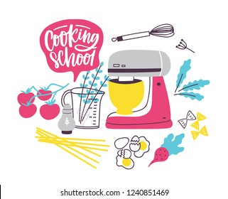 Banner template with cookware or kitchen utensils for food preparation. Colorful vector illustration in modern flat style for cooking school, culinary classes or lessons advertisement, promotion.