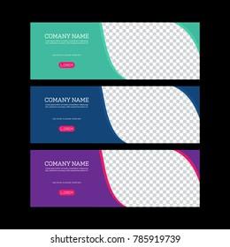 Banner Template Design. facebook banner set. Gift card, sale voucher. Vector illustration