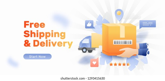 Banner template of free shipping service. Vector courier hands with package box and van over white background.