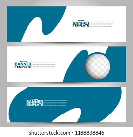 Banner template. Horizontal header. Abstract background for design,  business, education, advertisement. Blue color. Vector  illustration.