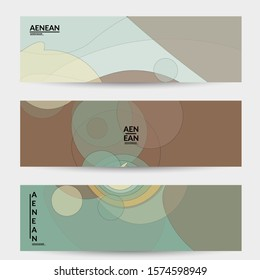 Banner template with pastel colored transparent overlapping shapes creating vector mixture of acrylic paint or watercolor effect. Marble texture flat colors simple organic shapes. Nature earth design.