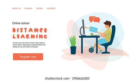 Banner template for posts, story or page for the website. A boy is sitting at the computer. A hand comes out of the monitor. Distance learning or online school. Online school or kids education.