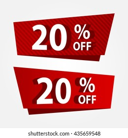 Banner template sale promotion. Banner vector discount 20% off.