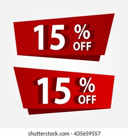 Banner template sale promotion. Banner vector discount 15% off.
