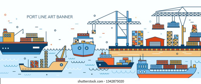 Banner template with seaport, marine terminal, freight vessels, cargo ships containerships, sea watercrafts, port cranes and warehouse. Maritime transportation. Vector illustration in line art style.